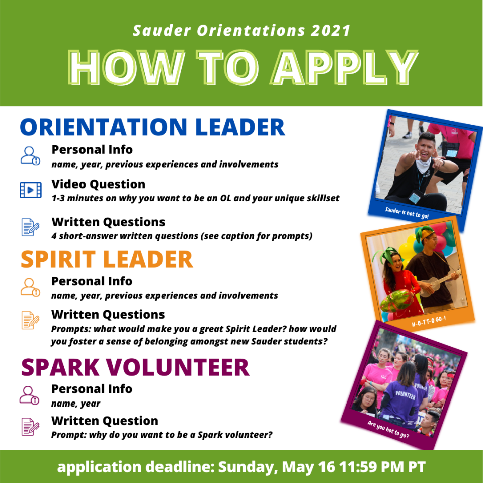 Application overview graphic for Sauder orientation leaders.