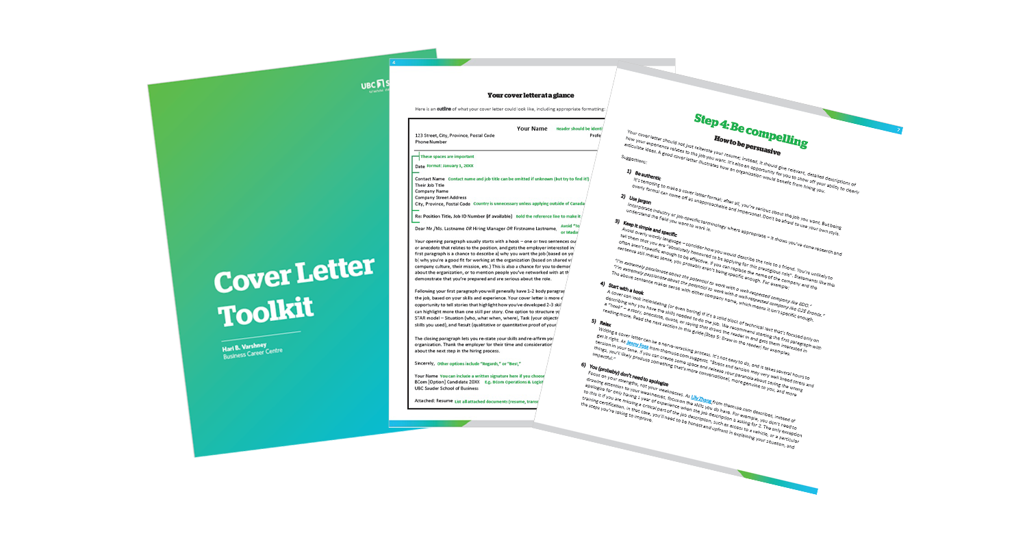 Download your Cover Letter Toolkit Cover letters